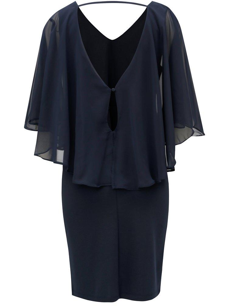 Tmavě modré šaty s volánem VILA Says