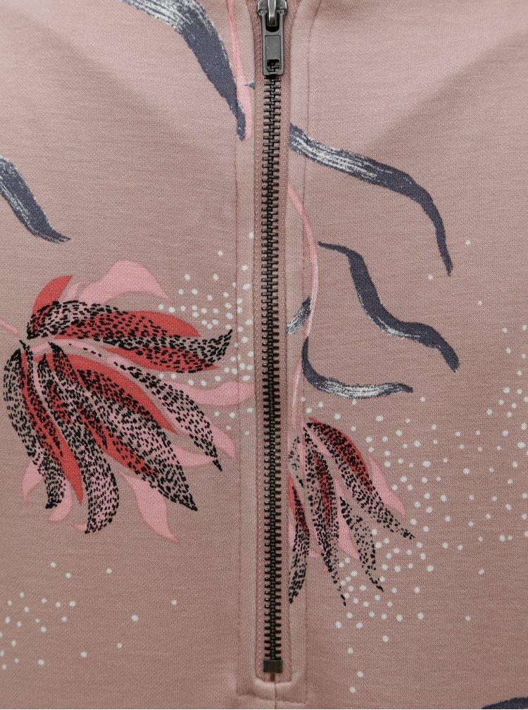 Rochie roz prafuit cu model floral si maneci scurte VILA Tinny