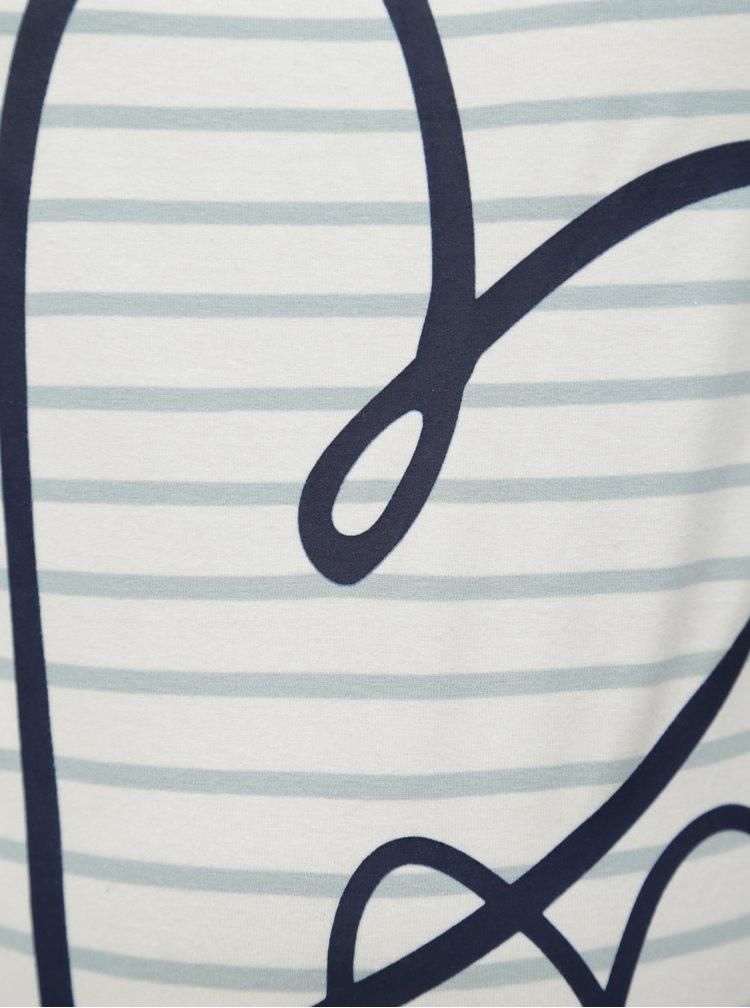 Modro-krémové pruhované těhotenské tričko Mama.licious Heart