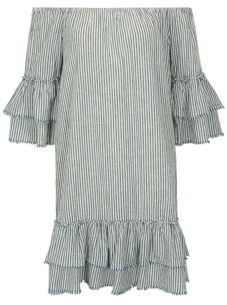 Krémovo-modré lněné pruhované šaty s odhalenými rameny ONLY Cecilia