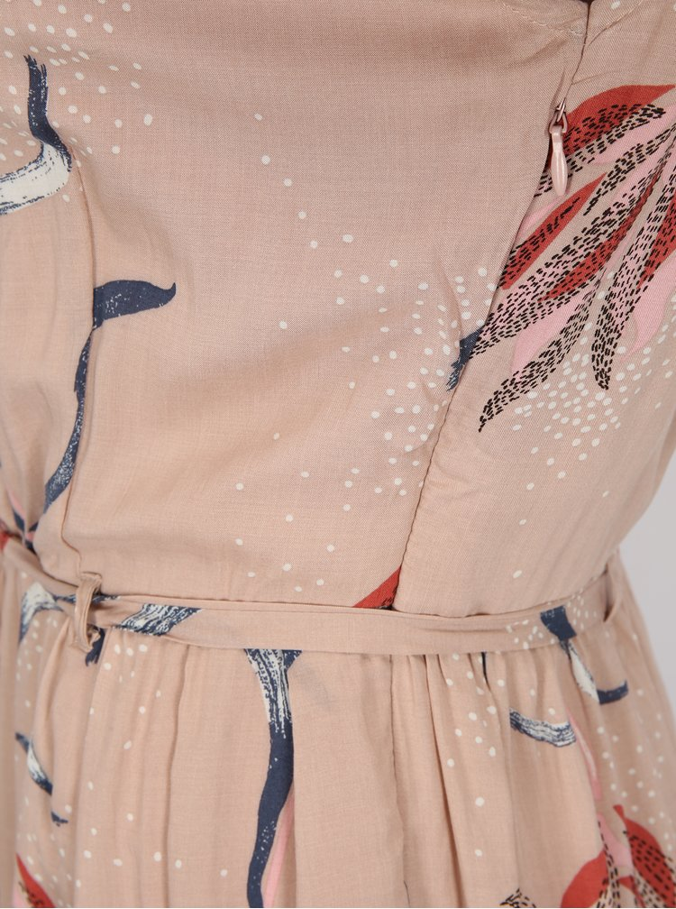 Rochie roz deschis cu print floral si cordon la talie - VILA Andi