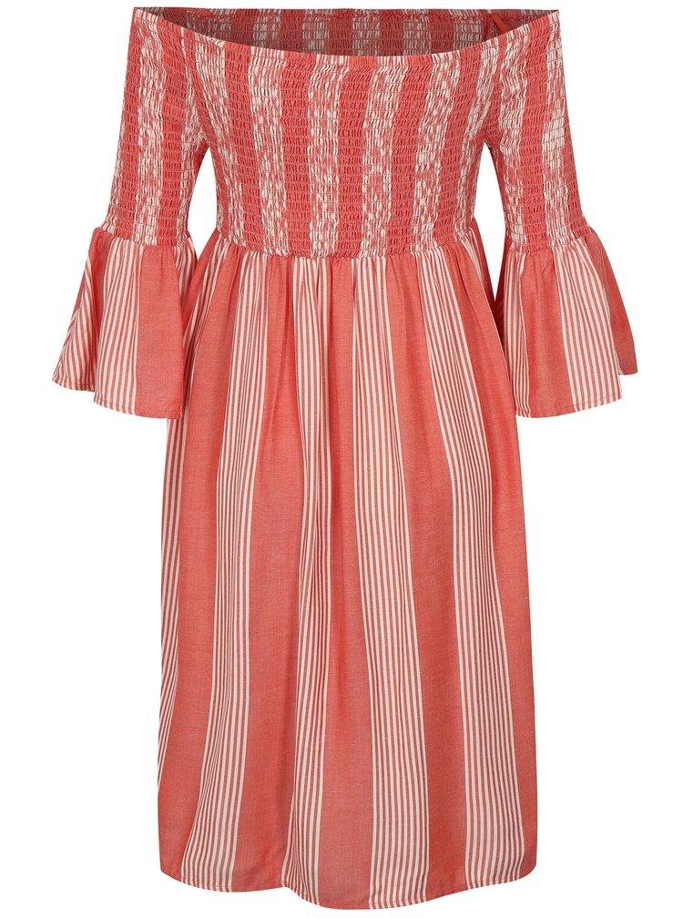 Krémovo-korálové pruhované šaty s odhalenými rameny Jacqueline de Yong Celest
