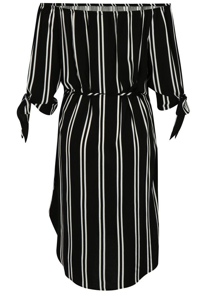 Bílo-černé pruhované šaty s odhalenými rameny Jacqueline de Yong Victory