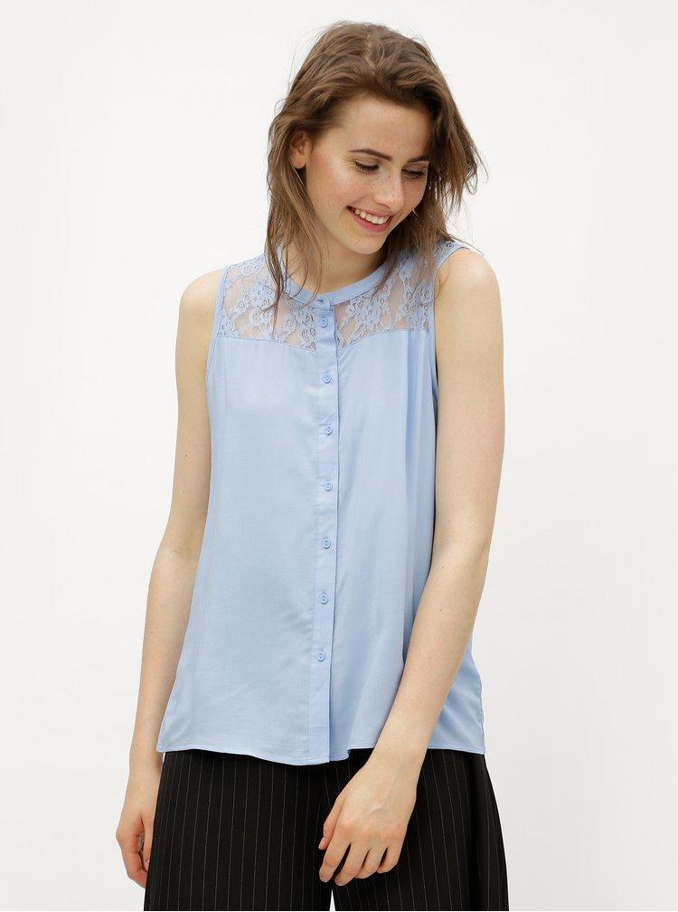 Bluza albastru deschis cu umeri din dantela VERO MODA Abby