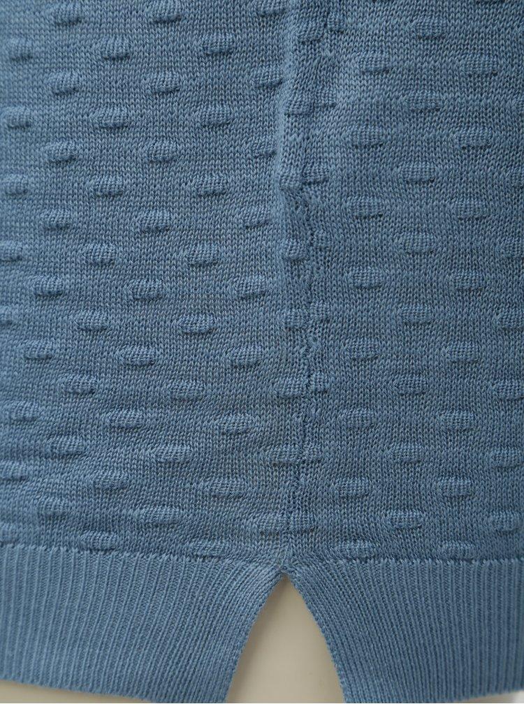 Pulover albastru cu model in relief VILA Sarafina