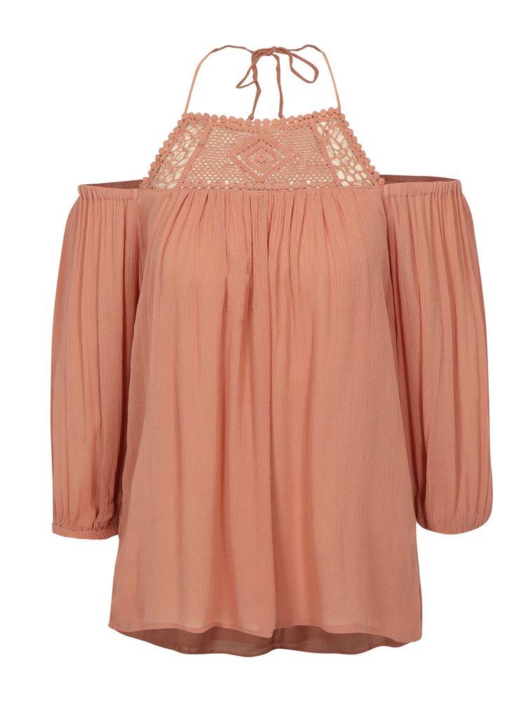 Bluza halter roz prafuit cu macrame ONLY Karmen