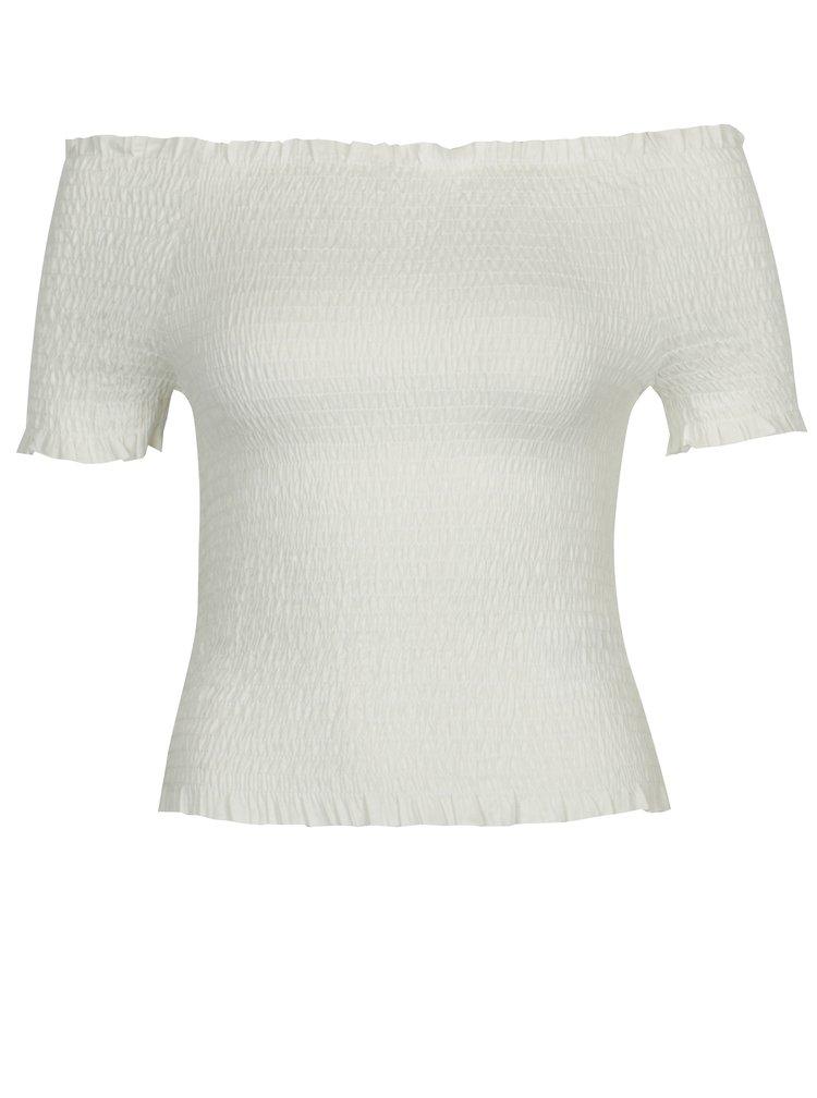 Bílý crop top s odhalenými rameny VERO MODA Mock