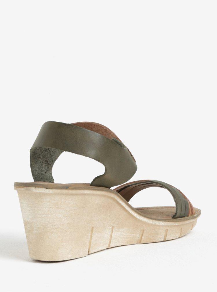 Hnědo-zelené dámské kožené sandálky na klínku Weinbrenner