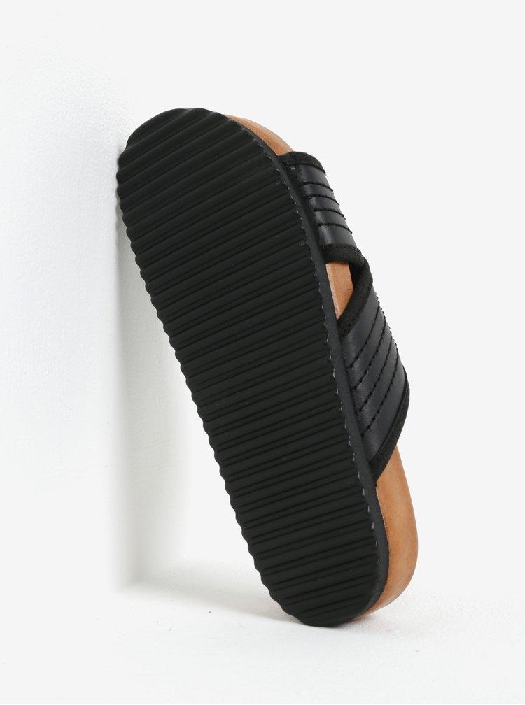 Čierne kožené šľapky Selected Femme Mariana