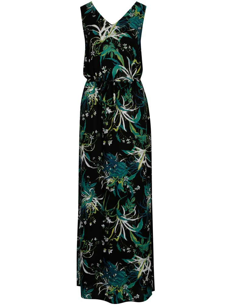 Zeleno-černé květované maxišaty VERO MODA Simply