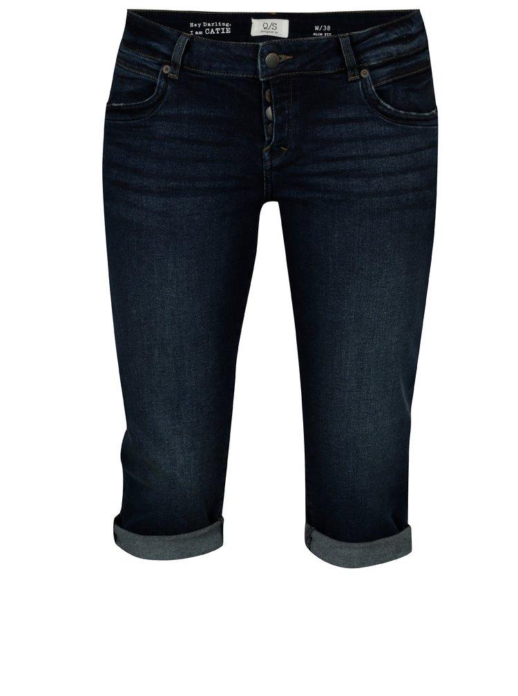 Tmavě modré džínové slim kraťasy s nízkým sedem QS by s.Oliver