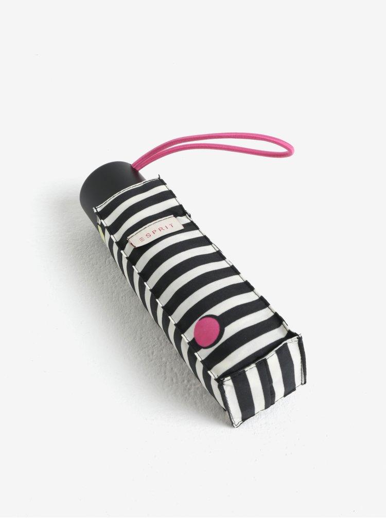 Krémovo-černý pruhovaný skládací deštník Esprit Dots & Dots