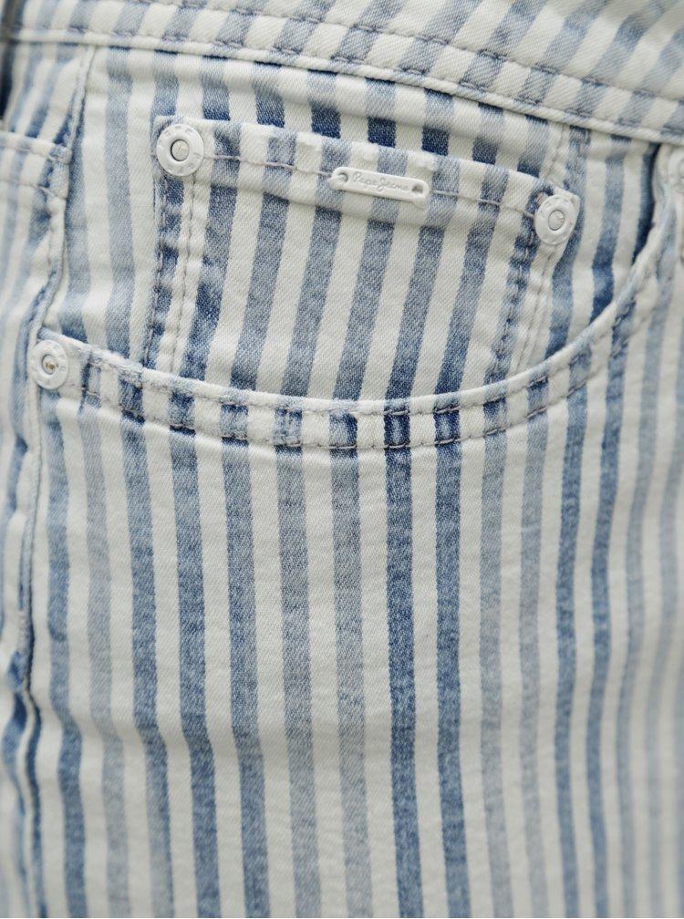 Modro-krémová džínová minisukně Pepe Jeans Amelia