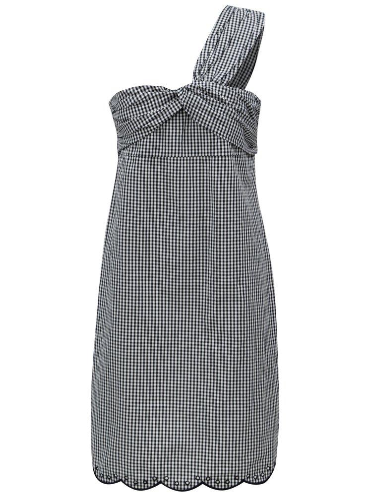 Černo-bílé kostkované asymetrické šaty Pepe Jeans Chelo