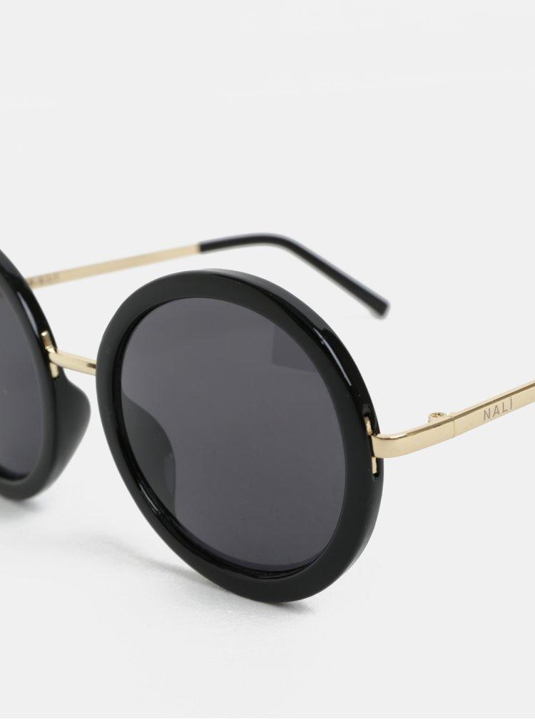 Černé kulaté sluneční brýle Nalí