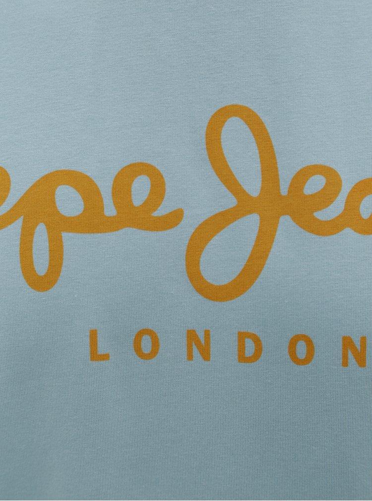 Modré pánské slim tričko s potiskem Pepe Jeans Original stretch