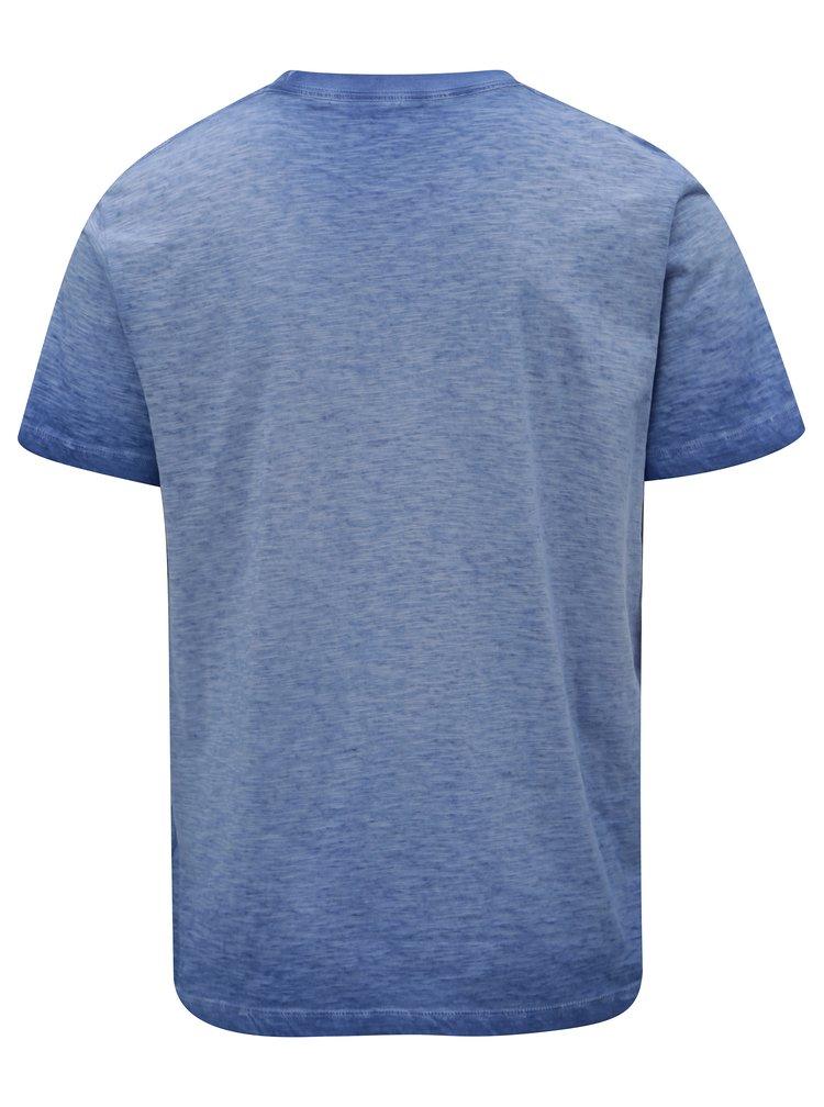 Modré melírované pánske regular tričko s potlačou Pepe Jeans Scott