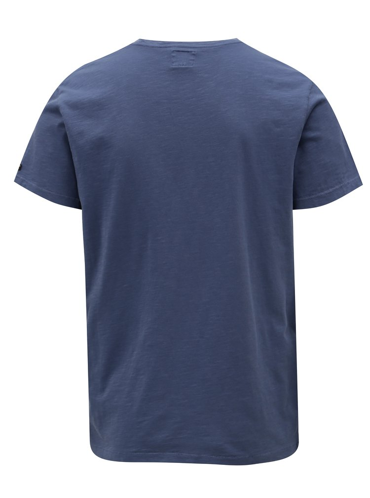 Modré pánské regular tričko s potiskem Pepe Jeans Skelton
