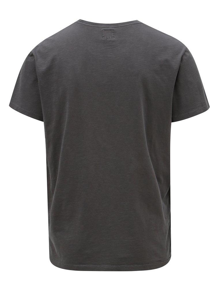 Tmavosivé pánske regular tričko s potlačou Pepe Jeans Skelton