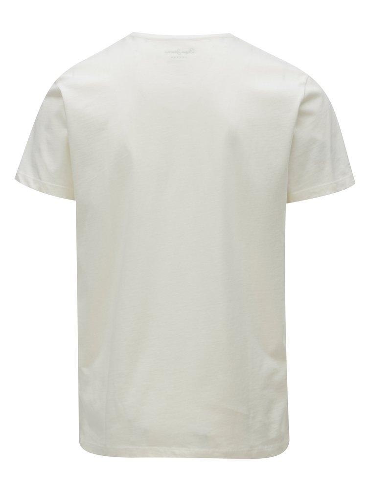 Krémové pánské regular fit tričko s potiskem Pepe Jeans Darren
