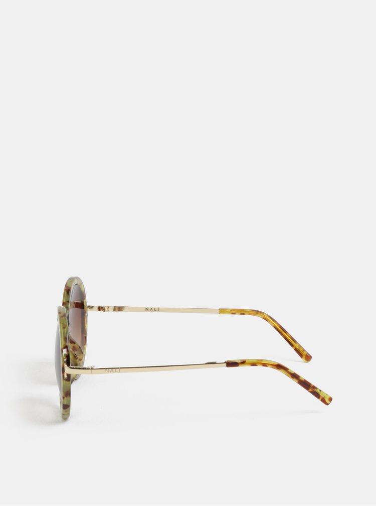 Hnědo-žluté kulaté sluneční brýle Nalí