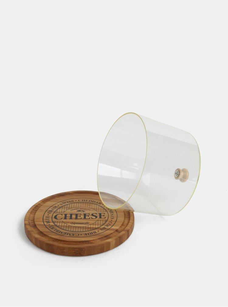 Hnědé malé bambusové prkénko na sýr s poklopem Dakls