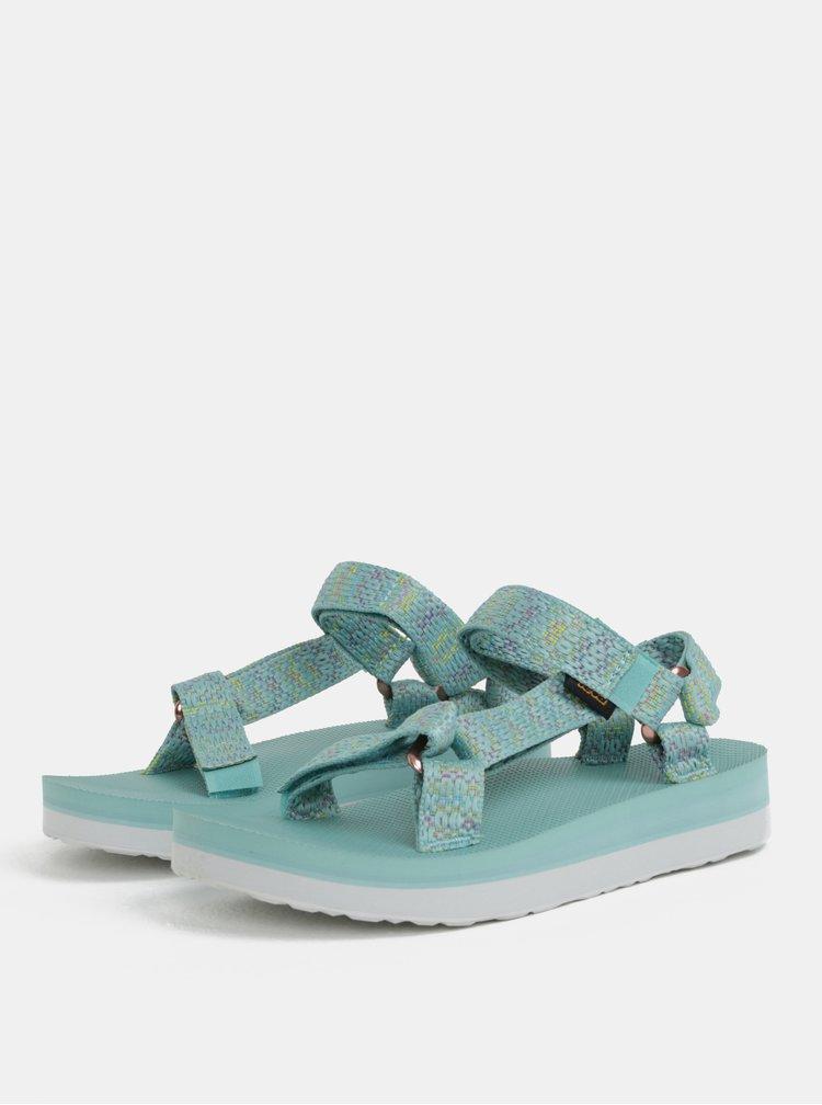 Mentolové dámské vzorované sandály na platformě Teva