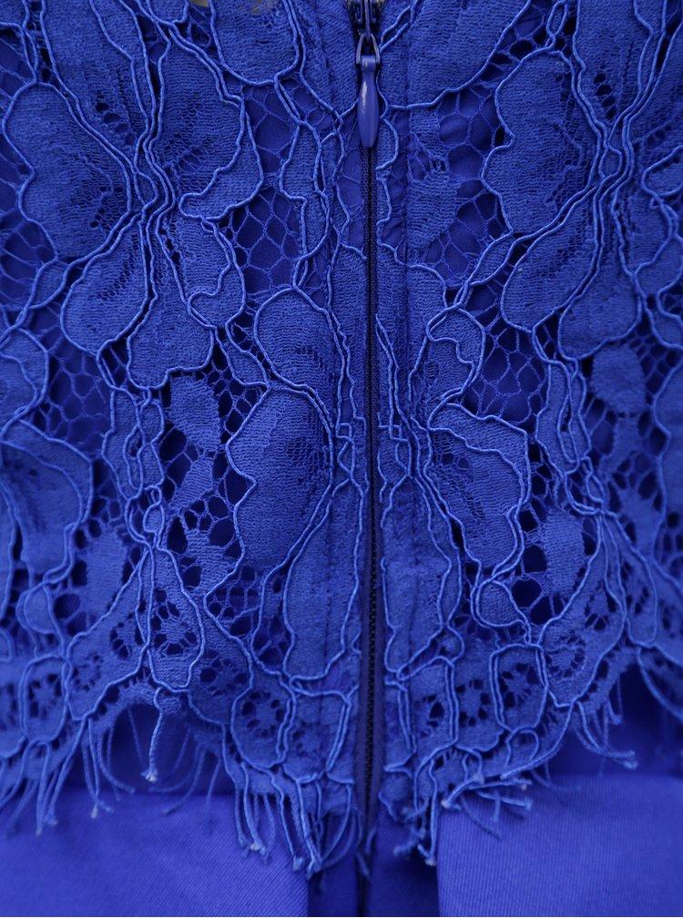 Modré šaty s krajkovým topem Little Mistress