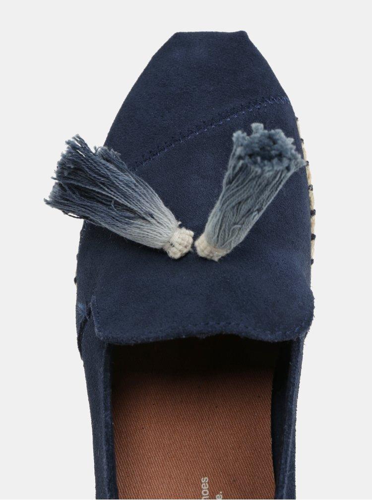 Tmavě modré dámské semišové espadrilky se střapci TOMS