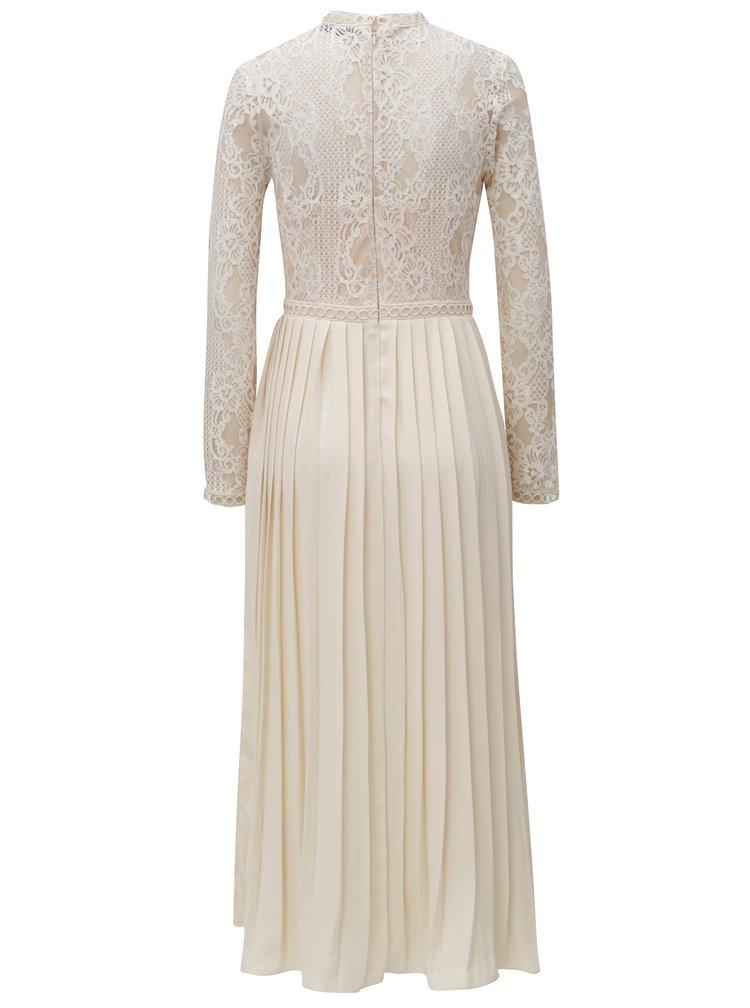 Krémové šaty s plisovanou sukní Little Mistress
