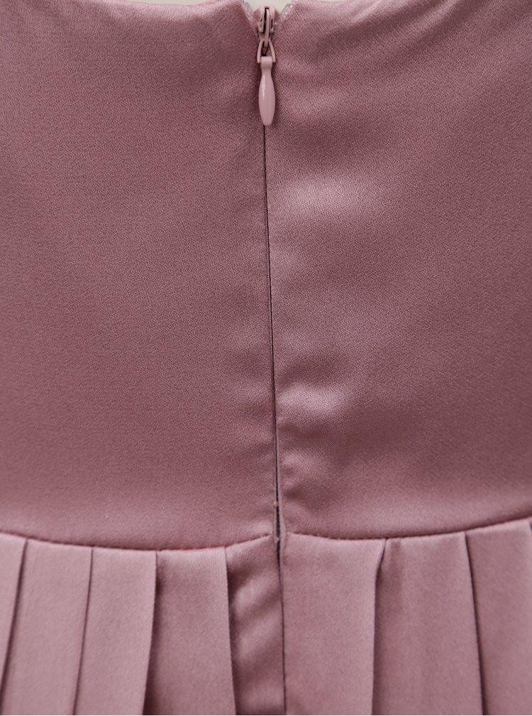 Tmavě růžové maxišaty s korálky Little Mistress