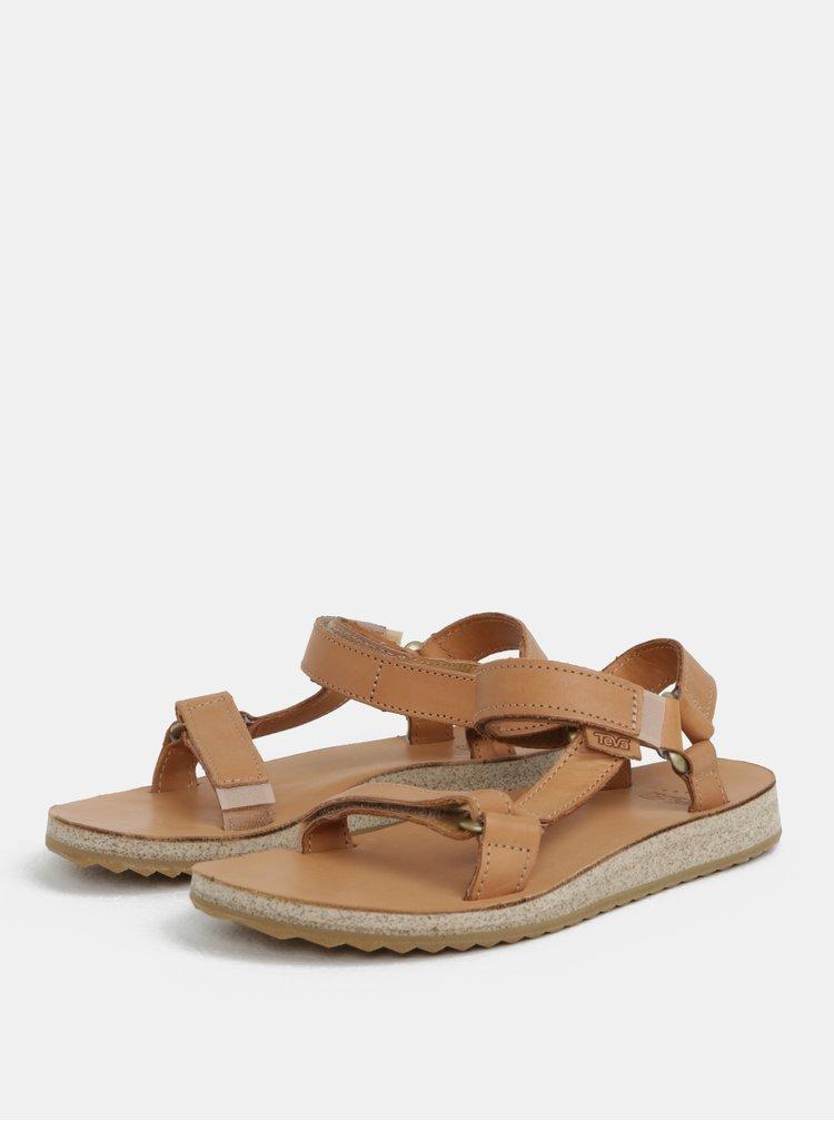 Světle hnědé dámské kožené sandály Teva