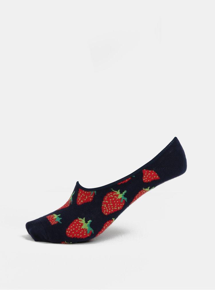 Tmavě modré dámské vzorované nízké ponožky Happy Socks Strawberry Liner