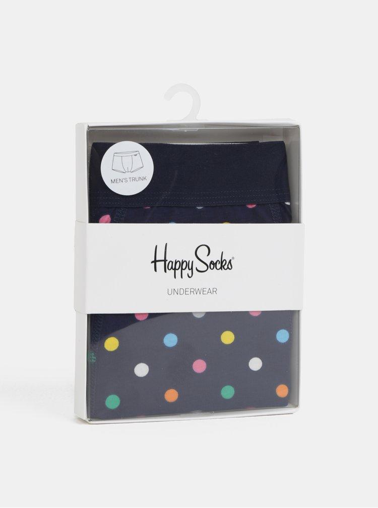 Tmavě modré pánské puntíkované boxerky Happy Socks