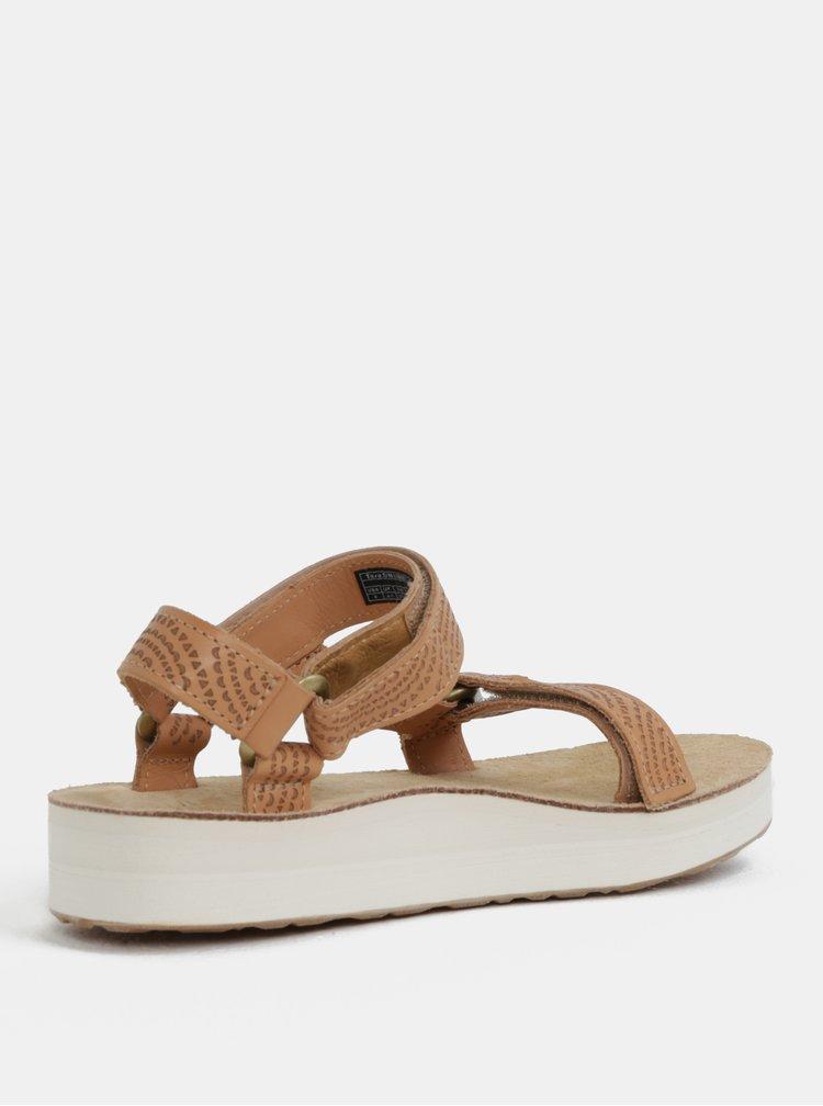 Světle hnědé dámské kožené vzorované sandály na platformě Teva