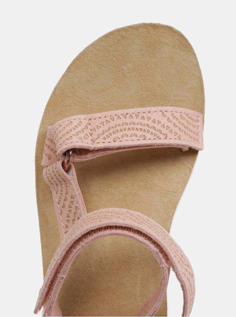 Svetloružové dámske kožené vzorované sandále na platforme Teva