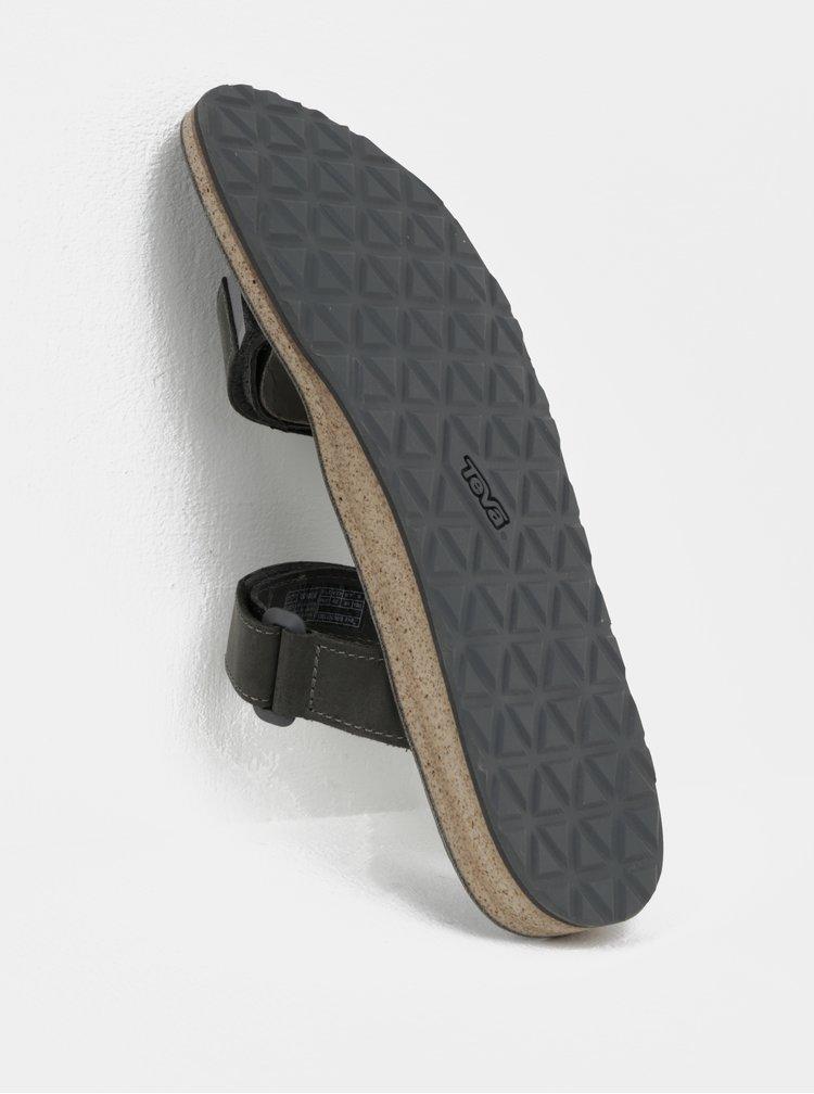 Šedé pánské kožené pantofle Teva