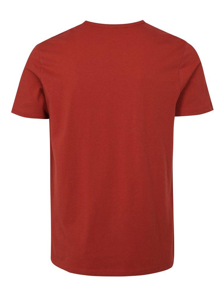 Tricou rosu slim fit cu print Jack & Jones Shane
