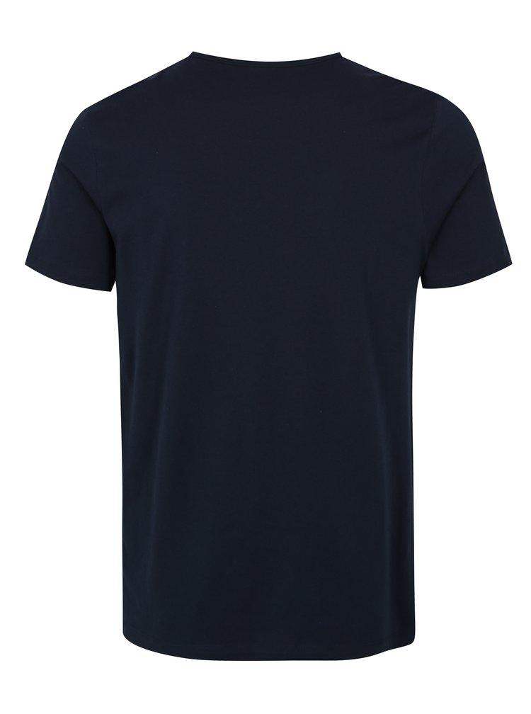 Tmavě modré slim fit tričko s potiskem Jack & Jones Shane