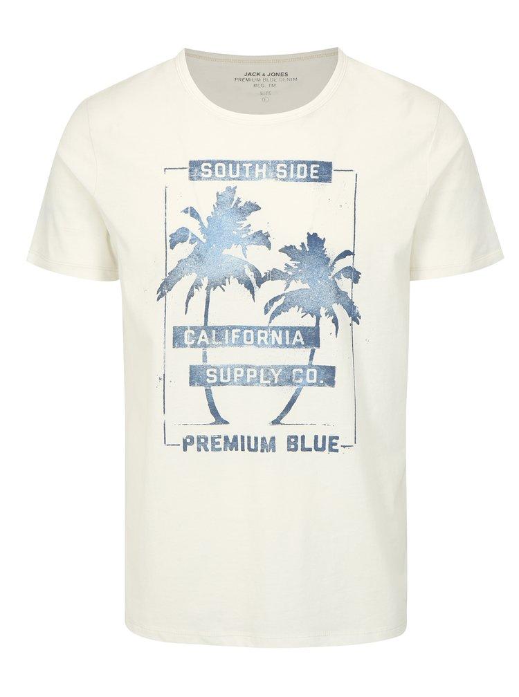 Bílé slim fit tričko s potiskem Jack & Jones Shane