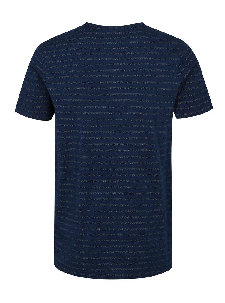 Modré vzorované slim fit tričko Jack & Jones Clark