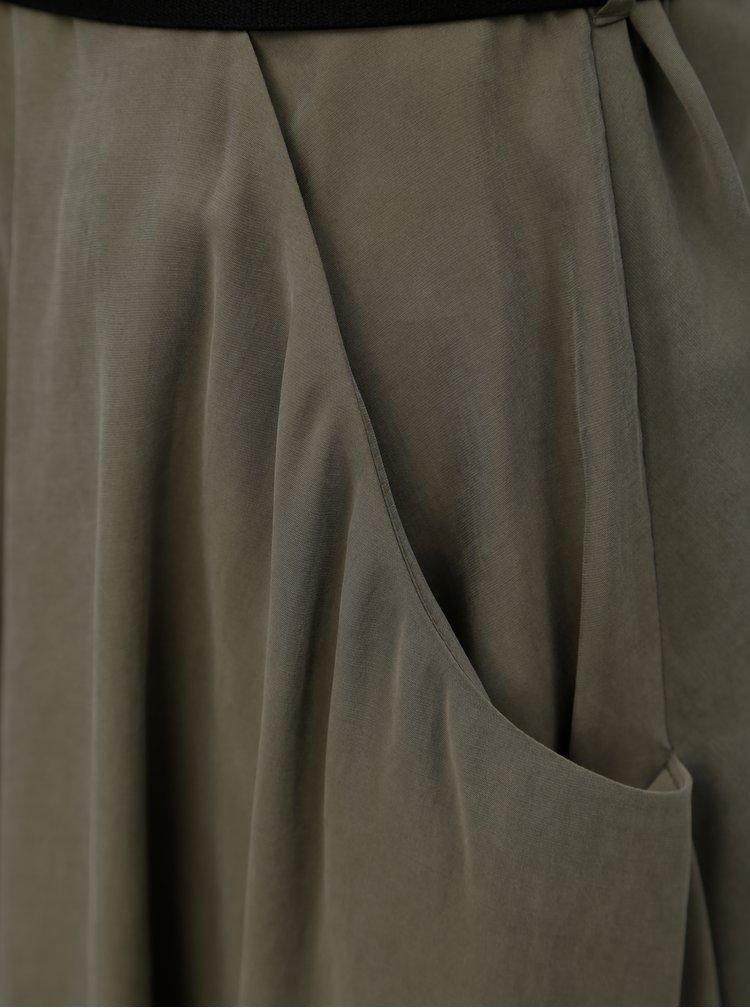 Khaki košilové midišaty s páskem Pietro Filipi