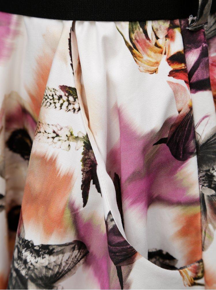 Fialovo–krémové vzorované košeľové šaty s opaskom Pietro Filipi