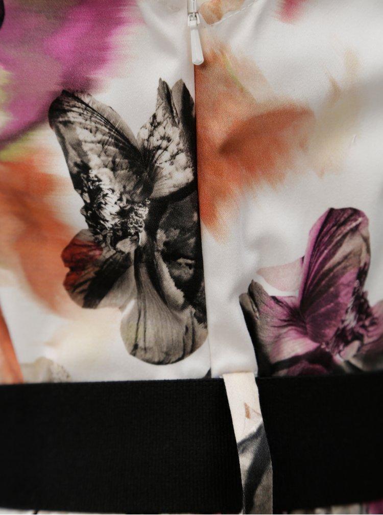 Fialovo-krémové vzorované košilové šaty s páskem Pietro Filipi