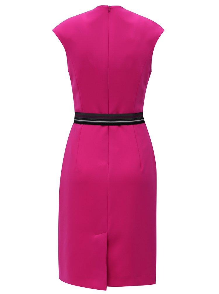 Růžové pouzdrové šaty s páskem Pietro Filipi