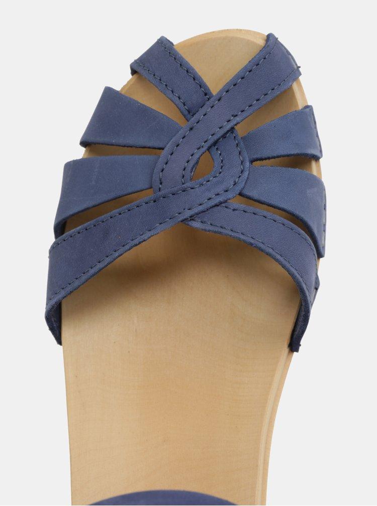 Dřeváky na podpatku s tmavě modrými koženými pásky Swedish Hasbeens Cross Strap Debutant