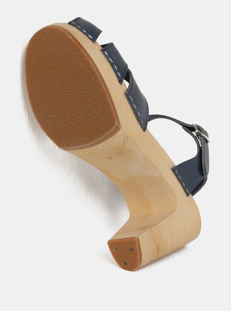 Dřeváky na podpatku s tmavě modrými koženými pásky Swedish Hasbeens Suzanne
