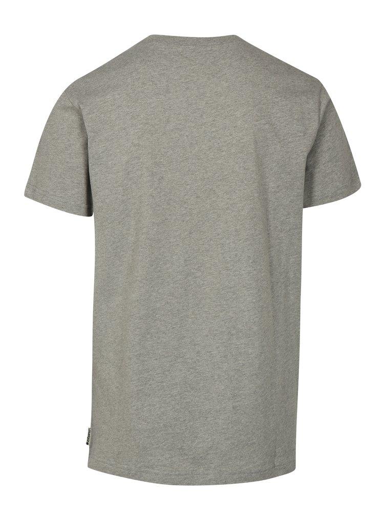 Šedé pánské žíhané tričko s krátkým rukávem Maloja