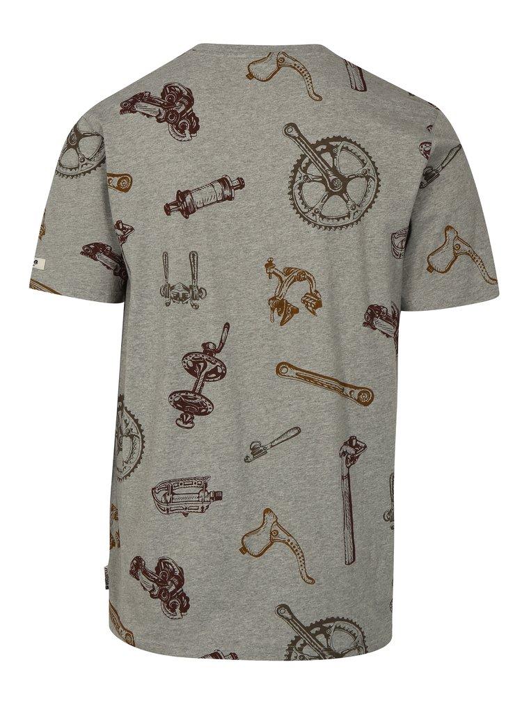 Šedé pánské tričko s krátkým rukávem a potiskem Maloja