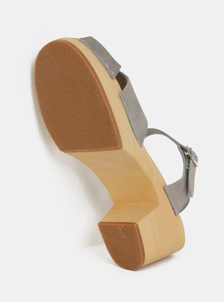 Dřeváky na podpatku s šedými koženými pásky Swedish Hasbeens Mirja